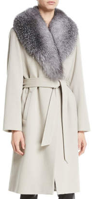 Sofia Cashmere Fur Shawl-Collar Long Wrap Coat