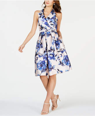 Adrianna Papell Sleeveless Collar Belted Fit & Flare Dress