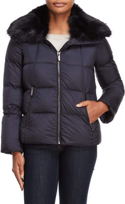 Karen Millen Navy Faux Fur Trim Down Coat
