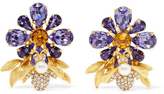Dolce & Gabbana - Gold-plated, Swarovski Crystal And Faux Pearl Clip Earrings - one size $845 thestylecure.com
