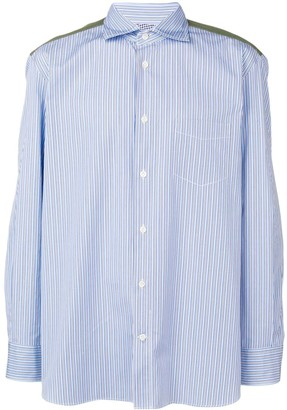 Junya Watanabe panelled camouflage stripe shirt