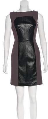 Milly Leather-Paneled Sheath Dress
