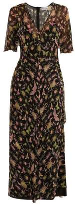 RED Valentino Bug Print V Neck Silk Chiffon Midi Dress - Womens - Black Multi