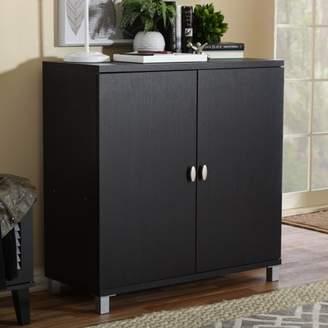 Baxton Studio Marcy Modern and Contemporary Dark Brown Wood Entryway Handbags or School Bags Storage Sideboard Cabinet