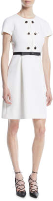 Michael Kors Short-Sleeve Jewel-Neck Stretch-Boucle Sheath Dress w/ Leather Trim