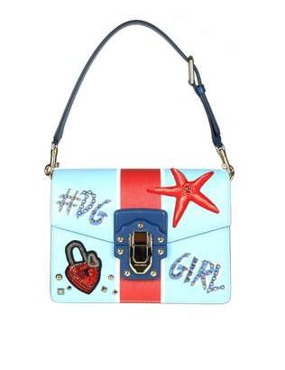 Dolce & Gabbana Shoulder Bag In Printed Calf Leather With Embroidery