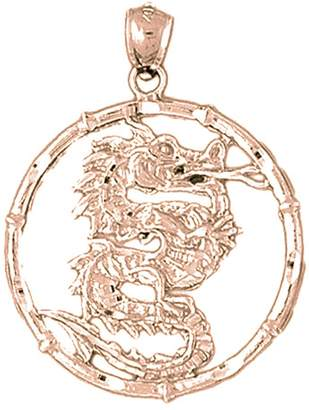 Dragon Optical NecklaceObsession 14K Rose Gold Chinese Zodiacs Pendant Necklace - 37 mm