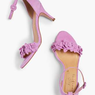 Talbots Lakia Floral Applique Suede Sandals