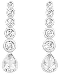 Tuscany Silver Sterling White Cubic Zirconia Graduated Drop Earrings