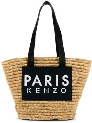 Kenzo logo straw tote