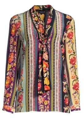 Etro Ribbon Floral Tie-Neck Silk Blouse