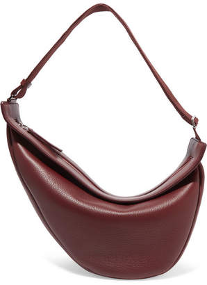 The Row Slouchy Banana Large Textured-leather Shoulder Bag - Burgundy