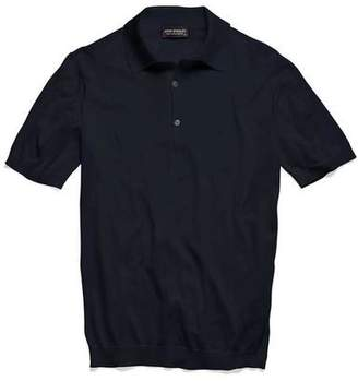 John Smedley Sweaters Adrian Short Sleeve Polo in Navy