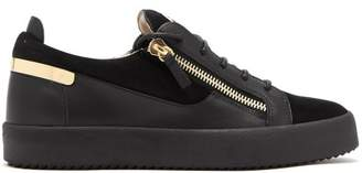 Giuseppe Zanotti Frankie Leather And Suede Low Top Trainers - Mens - Black