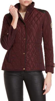 Lauren Ralph Lauren Quilted Faux Leather Trim Jacket