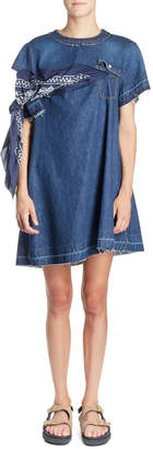 Sacai Bandana-Tie Round-Neck Short Denim Shift Dress
