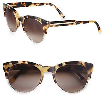 Acetate & Metal Cat's-Eye Sunglasses/Yellow Tortoise