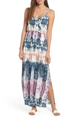 One Clothing Tie Dye Surplice Maxi Dress