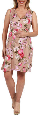 24/7 Comfort Apparel 24Seven Comfort Apparel Lauren Floral Empire Waist Maternity Dress - Plus