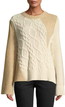 Co Crewneck Long-Sleeve Patchwork Cable-Knit Tunic Sweater