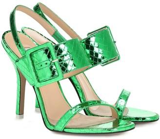 ATTICO The Embossed metallic leather sandals