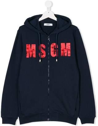 MSGM logo print zipped hoodie