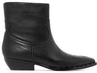 Sam Edelman Ava Studded Embroidered Textured-leather Ankle Boots