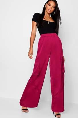 boohoo Woven Wide Leg Cargo Trousers