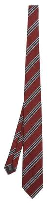 Ermenegildo Zegna Striped Silk Tie - Mens - Burgundy
