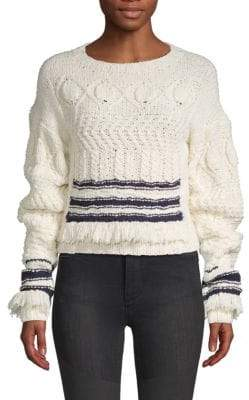 Derek Lam Wool & Silk Fringe-Trimmed Sweater