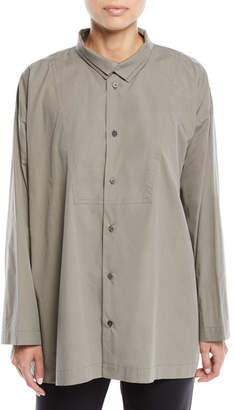 eskandar Long-Sleeve Two-Collar Slim A-Line Shirt