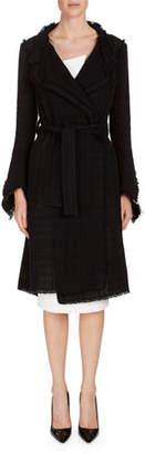 Roland Mouret Mesh Tweed Belted Coat