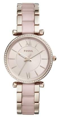 Fossil Carlie Three-Hand Two-Tone Acetate And Stainless Steel Watch Jewelry