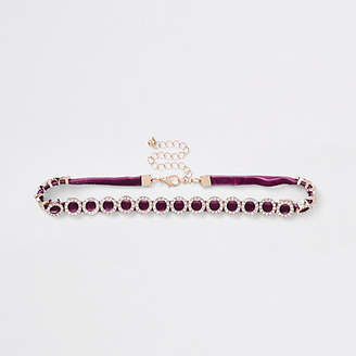 River Island Purple rhinestone embellished circle choker