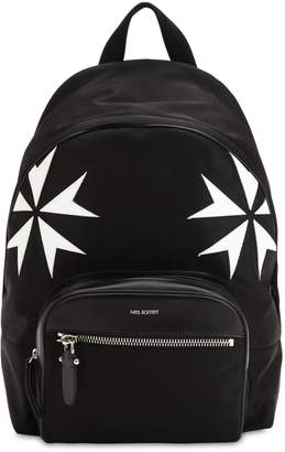 Neil Barrett Patch Stars Nylon & Leather Backpack