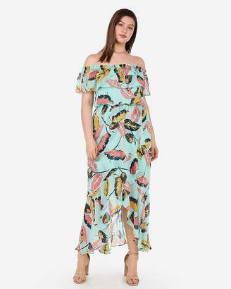 Express Tropical Ruffle Off The Shoulder Maxi Dress