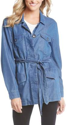 Karen Kane Belted Chambray Cargo Jacket
