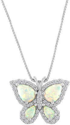 FINE JEWELRY Womens Lab Created Multi Color Opal Sterling Silver Butterfly Pendant Necklace