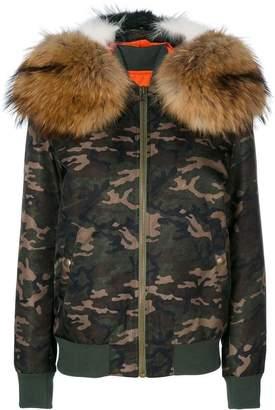 Mr & Mrs Italy camouflage hooded bomber jacket