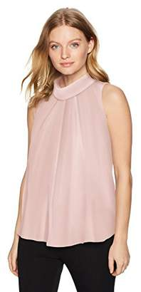 Ellen Tracy Women's Petite High Neck Tie Shell