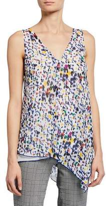 Derek Lam 10 Crosby Printed V-Neck Sleeveless Asymmetric Tank