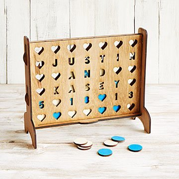 Personalized Hearts Four-Across Game