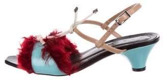 Marni Fur-Trimmed Leather Sandals