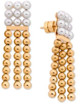 Majorica Gold-Tone Bead & Imitation Pearl Chandelier Earrings