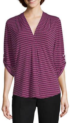Liz Claiborne 3/4 Sleeve V Neck Knit Blouse