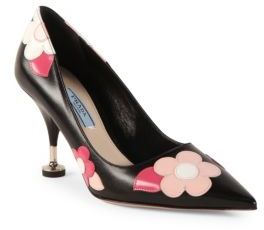 Prada Flower Leather Point Toe Pumps