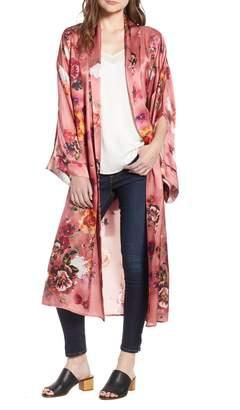 Nordstrom Print Long Silk Kimono