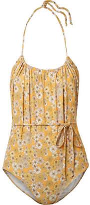 Lisa Marie Fernandez Charlotte Belted Floral-print Stretch-crepe Halterneck Swimsuit - Saffron