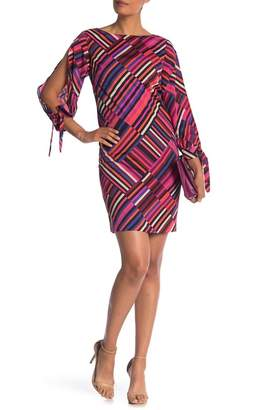Trina Turk Jaxon Asymmetrical Stripe Split Sleeve Dress