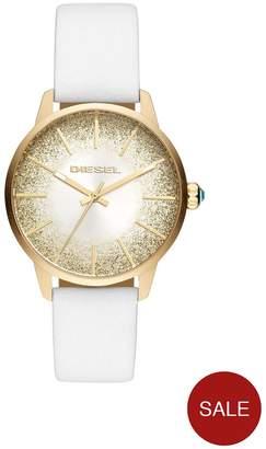 Diesel Castilla White Leather Strap Sunray Glitter Effect Dial Ladies Watch